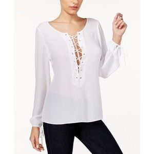 Guess Nanette Lace Up Sheer White Blouse with Tie